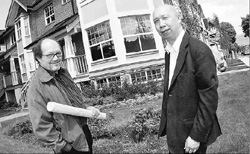Award-winning architect, Harvey Hatch, with George Kwong in front of Cotton Lane.